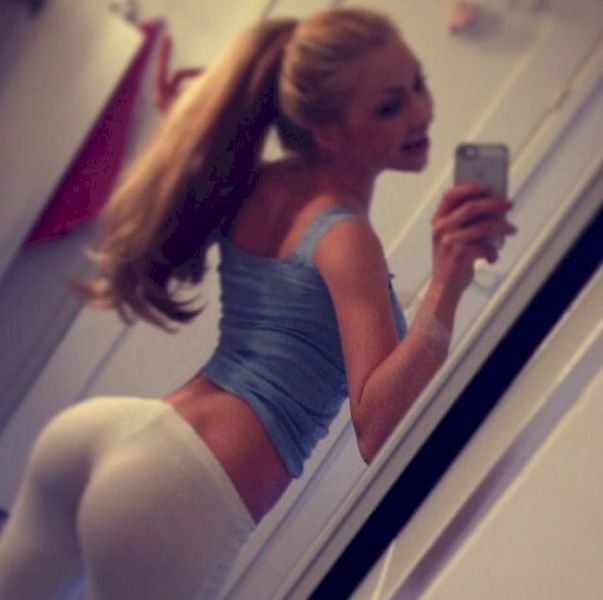 Blonde teen tight leggings young