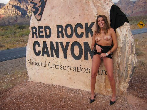 Crazy Naked Girls In Public in red rock canyon