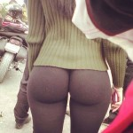 hot street girl in yoga pants